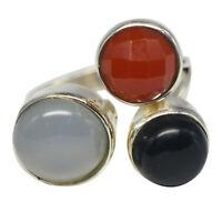 925 Sterling Silver Chalcedony,Carnelian,Black gemstone Jewelry Ring size 5.63gm