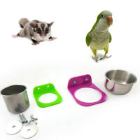 Stainless Steel Food Water Feeding Bowl Cup Bird Parrot Feeder Pet Cage Supplies