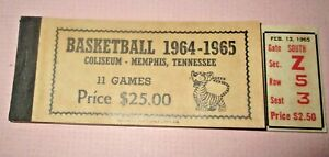 1965 - 65 Memphis State Tigers Basketball Ticket Booklet - 3 Full Tickets Intact