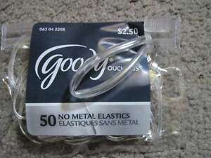 50 Goody Value Pack Clear Ouchless No Metal Small Poly Elastic Hair Bands Pouch