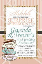 Personalised Surprise Anniversary Afternoon Tea Party Invite Invitation