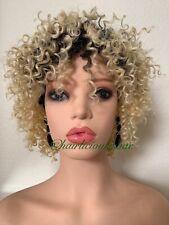 kinky-curly afro wig Blonde Ombré Black Heat Resistance Ok