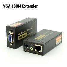 100M 328ft VGA Video Audio Extender Over Single RJ45 CAT5e 6 1080P Extension
