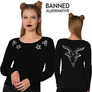 Banned Apparel Sulphur Pentagram Runes Occult Satan Witchy Gothic Crew Cardigan