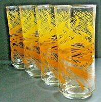 Set of FOUR Vintage Libbey Golden Wheat Harvest Gold Tumbler Glasses 16 oz. MINT
