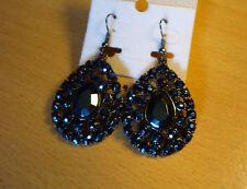Grote druppel oorbellen met donkerblauwe metallic strass steenjes NIEUW