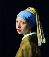 "Vermeer Girl With A Pearl Earring Painting 12.5"" x 14.5"" Real Canvas Art Print"