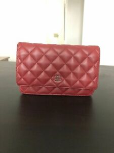❅❆❇❅❆❇❅❆❇❅❆❇Authentic Chanel Red Lambskin Leather WOC Wallet On a Chain bag