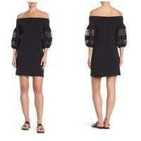 NWOT 1. State Black Off The Shoulder 3/4 Lace Sleeve Knit Shift Dress Sz Medium