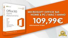 Microsoft Office 365 Home 6 PC / Mac 1 anno Licenza ESD