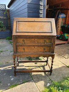 Beautiful Antique Oak Writing Desk Bureau Barley Twist Legs