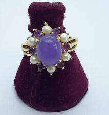 Lavender Jadeite Jade Pearl Amethyst 14k Yellow Gold Ring