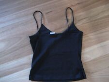 LADIES SIMPLE BLACK POLYESTER SLEEVELESS SINGLET TOP BY SILHOUETTE SIZE S - 6/8