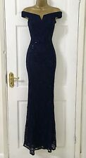 Womens £65 EX QUIZ Navy Lace Sequin Bardot Fishtail Maxi Evening Dress 8 - 18