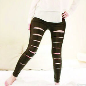 WOMENS COTTON LEGGINGS BROWN CHOCOLATE RIPPED FULL LENGTH PLUS SIZES
