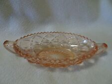 "IMPERIAL GLASS ""LITTLE JEWEL"" PINK DEPRESSION HANDLED PICKLE DISH-1920'S-30'S"