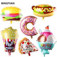 Food Pizza Burger Hotdog Ice Cream Pop Corn Birthday Party Foil Banner Balloons