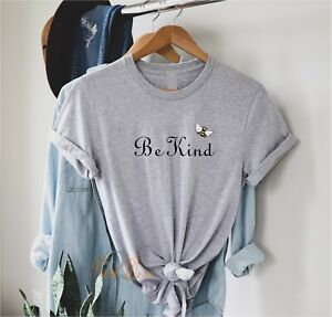 Be Kind - Bumble Bee - slogan Ladies T Shirt, Kids Sizes Black White grey Top