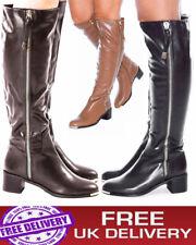 New Women's Knee High Ladies Smart Boots Block Mid High Heel Winter Biker Shoes