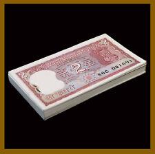 India 2 Rupees x 100 Pcs Bundle, 1997 P-53Ae Letter B Sig# 86 Staples Unc #1