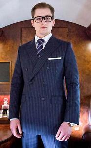 Men Blue Stripes Suits Kingsman Double Breasted Wedding Dinner Suits(Coat+Pants)