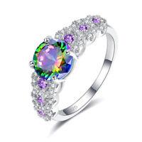 Rainbow Blue Pink White Topaz & Amethyst Gemstone Silver Ring Size 6 7 8 9 Gift