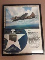 Boeing B-17 Flying Fortress Framed Print w/ Relic - World War II Veteran!