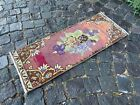 ETHNIC DESIGNED VINTAGE TURKISH CARPET, HAND MADE AND WOOL | 1,1 x 2,9 ft