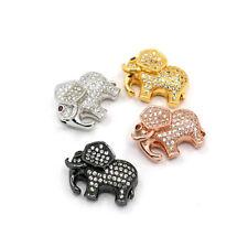 10pcs Brass Pave Cubic Zirconia Beads Elephant Random Color Loose Beads 17x22mm