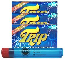 Trip2 Cellulose Clear Rolling Papers Mini Size (3 Packs) with RPD Doob Tube