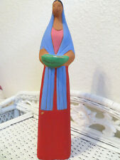 Mexican Tall Pottery Clay Woman Folk Art Figurine Carrying Basket Collectible