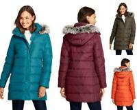 NWT Lands End Womens Winter 600 Down Coat Parka Faux Fur Hood Petite S, Reg XL