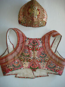antique french 1800 ladies embroidered silk brocade bodice + coiffe bonnet