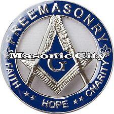 Z-124 FreeMasonry Blue & Silver Masonic Auto Emblem Car Lodge Mason PHA AF&AM