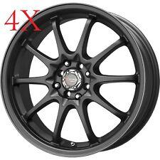 Drag Wheels DR-9 17x7 5x100 5x114 Flat Black Rims For Mazda RX7 RX8 300 M MR2