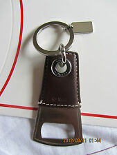 NWGR COACH MEN'S MAHOGANY LEATHER STAINLESS STEEL BOTTLE OPENER KF F60435