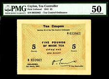 Ceylon, Tea Coupon 1941 Five Pounds About UNC PMG 50