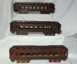 Three (3) Antique Tin Metal Passenger Car Trains - AS IS For Parts Repair Decor