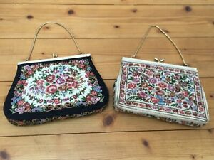 2 alte Gobelin Damen Handtaschen Vintage Handtasche bestickt Haushaltsauflösung