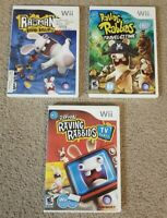 Nintendo Wii Rayman Raving Rabbids, Travel in Time & Rabbids TV Party Lot of 3