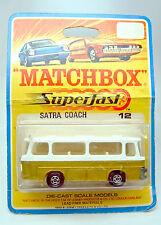 Matchbox Superfast Nr. 12B Setra Coach gold & weiß auf rarer 1969 Blisterkarte