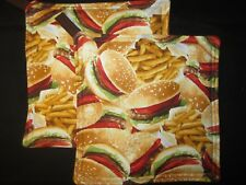 HAMBURGER FRIES FOOD TOMATOE LETTUCE HANDMADE FABRIC POTHOLDER HOT PAD SET OF 2