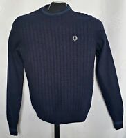 VINTAGE AUTHENTIC FRED PERRY LAMBS WOOL SOLID BLUE MEN'S SWEATERS SIZE:XS