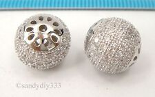 1x Rhodium plated STERLING SILVER CRYSTAL MICRO PAVE ROUND SPACER BEAD #2421