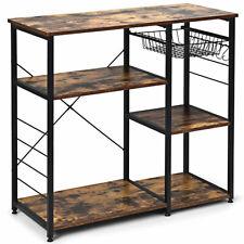 Industrial Kitchen Baker's Rack Microwave Stand Multi-usage Shelf w/ 6 Hooks