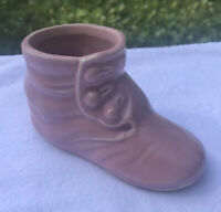 Vintage McCoy Pottery BUTTON SHOE BABY BOOTIE FIGURINE / PLANTER Pink