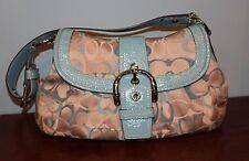 COACH Signature Beige Aqua Leather Shoulder Bag