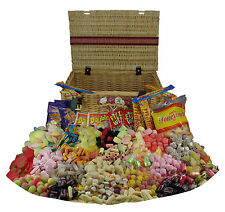 Retro Sweets Large Wicker Hamper - Full of Jellies / Gums / Chews Sweets