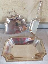 corbeille à pain ramasse miettes métal argenté 3 pièces art déco bread basket