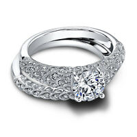 1.30 Ct Diamond Engagement Band Set Ring 14K Solid White Gold Rings Size 5 6 7 8